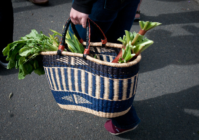 Farmers Market Basket full of produce
