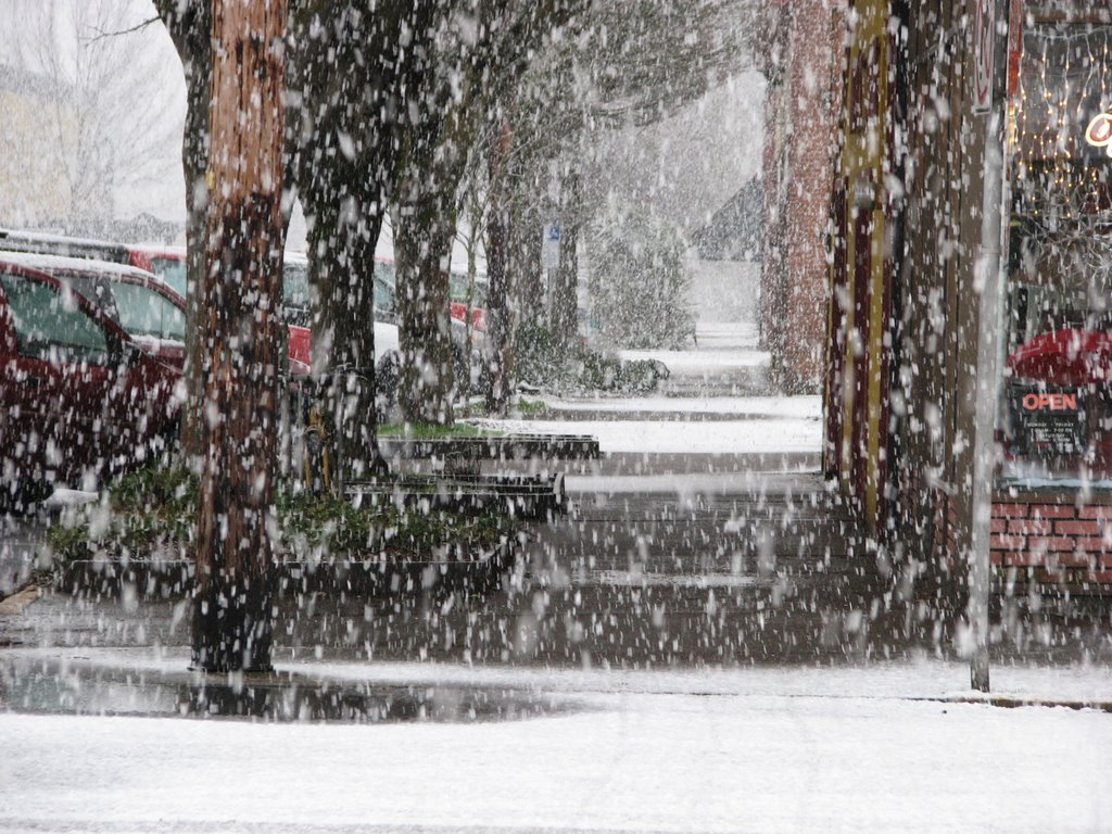 Downtown Corvallis Oregon in the snow