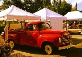 Red Pickup at the Corvallis Farmers Market from Territorial Road Orchard