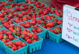 Beautiful Red Strawberries on a Farmers Market Table